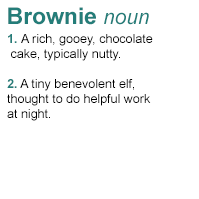 Brownie definition dark greeny blue