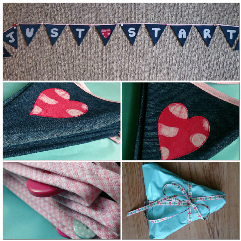 Denim bunting finished collage