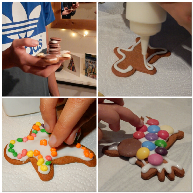 Gingerbread kids decorating collage