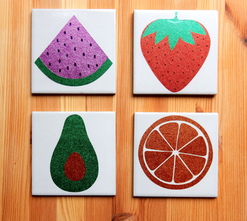 Lu fruity coasters tutorial finished melon avo etc on wood