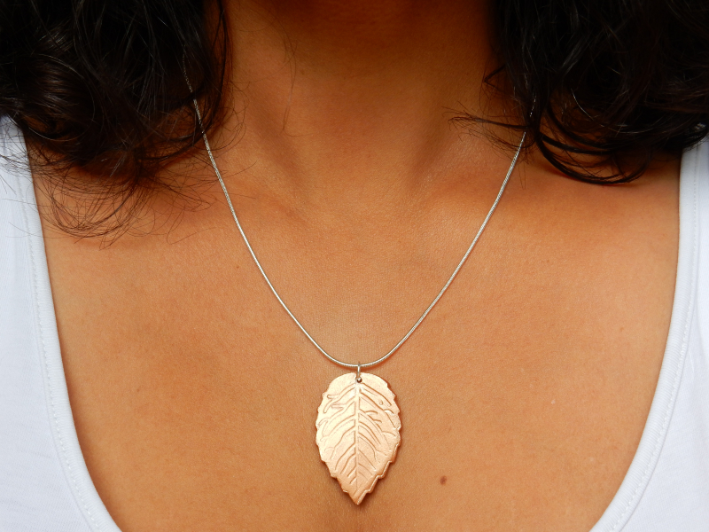 Lu leaf necklace tutorial finished bronze on chest
