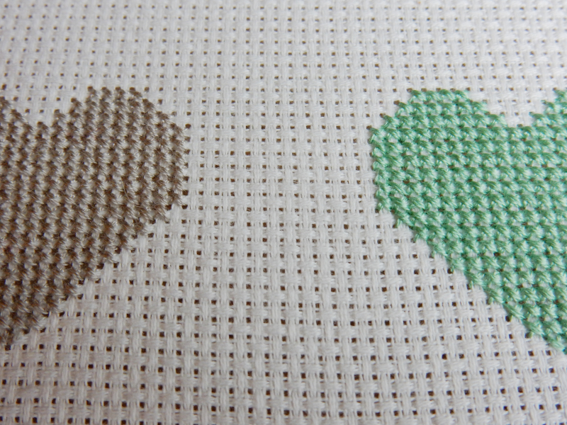 Lu cross stitch hearts bunting space between hearts at side