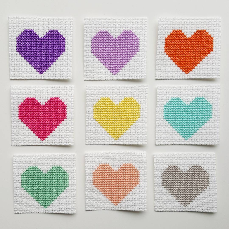 Lu Cross Stitch Hearts bunting hearts