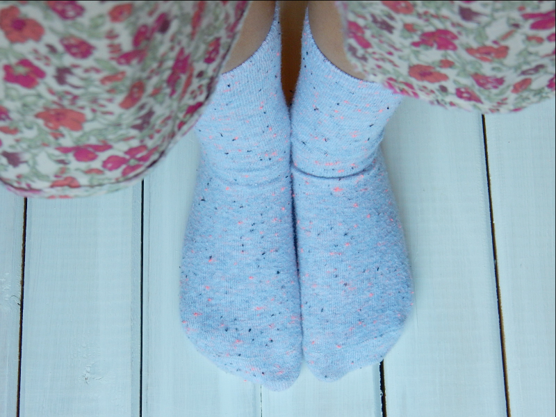 Inspired by mini eggs Tabs in speckled socks
