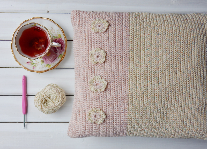Lu Me and Crochet cushion with cuppa