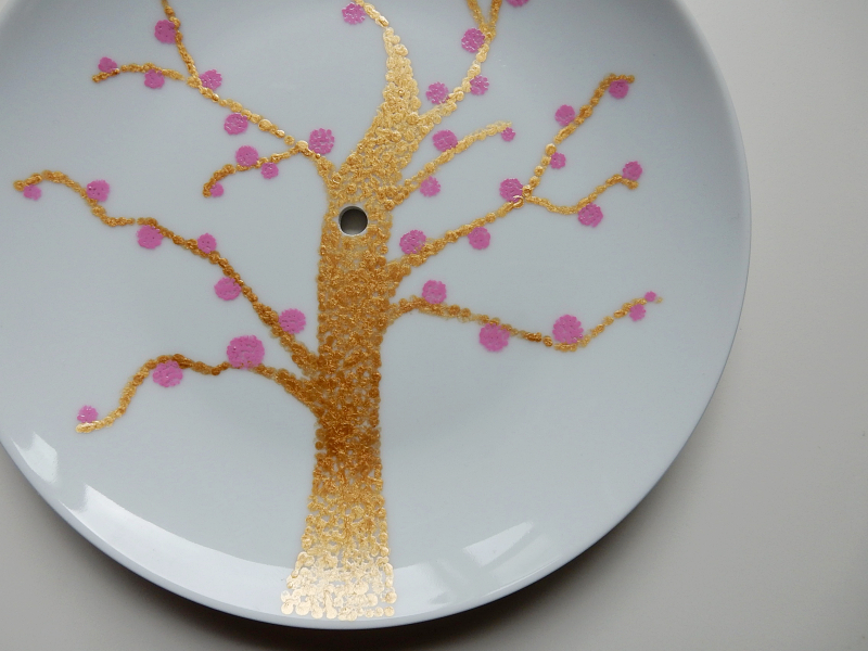 Lu cake stand gold tree pink blossom 1