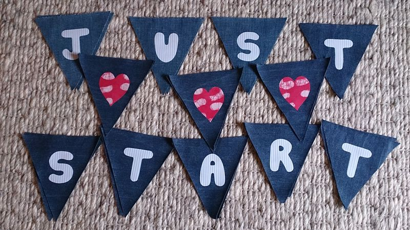 Denim bunting sewn and ironed