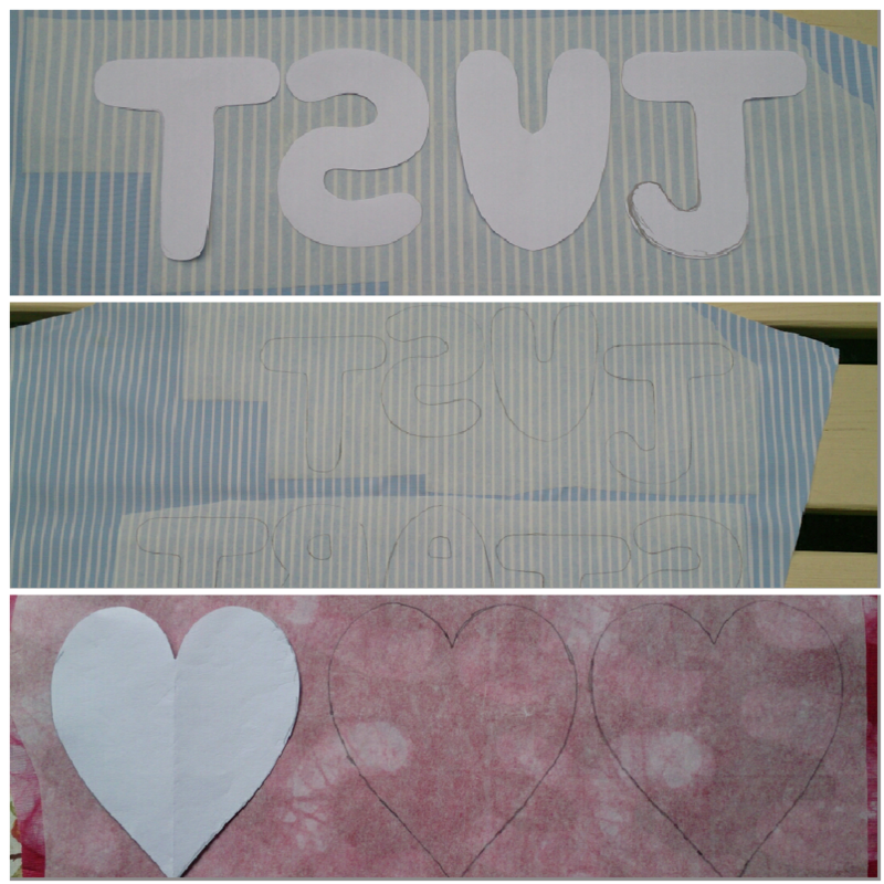 Denim bunting letters and heart on webbing