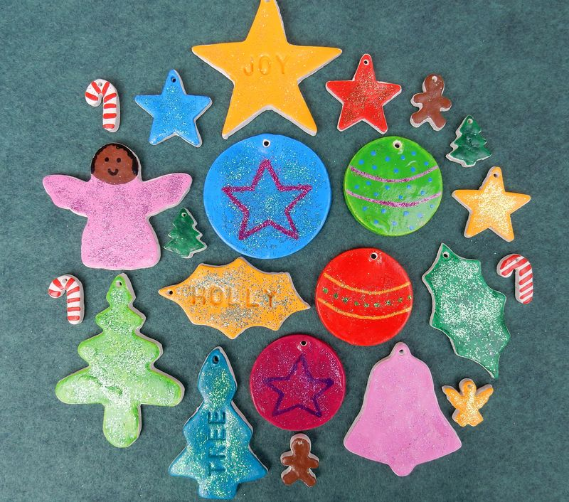 Lu clay decs tags angels etc painted