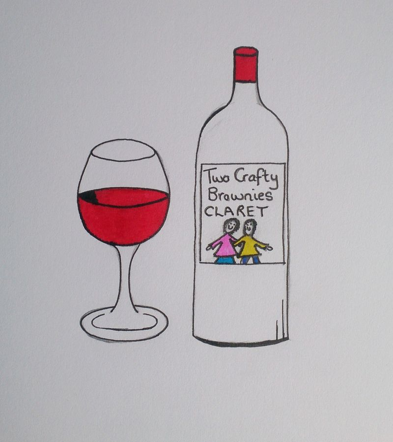 Lu claret glass and bottle coloured in 2