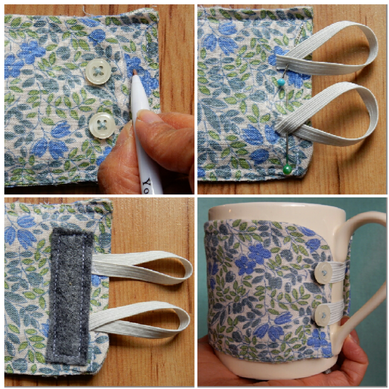 Lu upcycled shirt mug warmer elastic and finished mug
