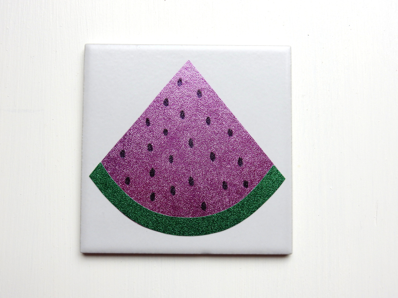 Lu fruity coasters tutorial pips drawn on melon