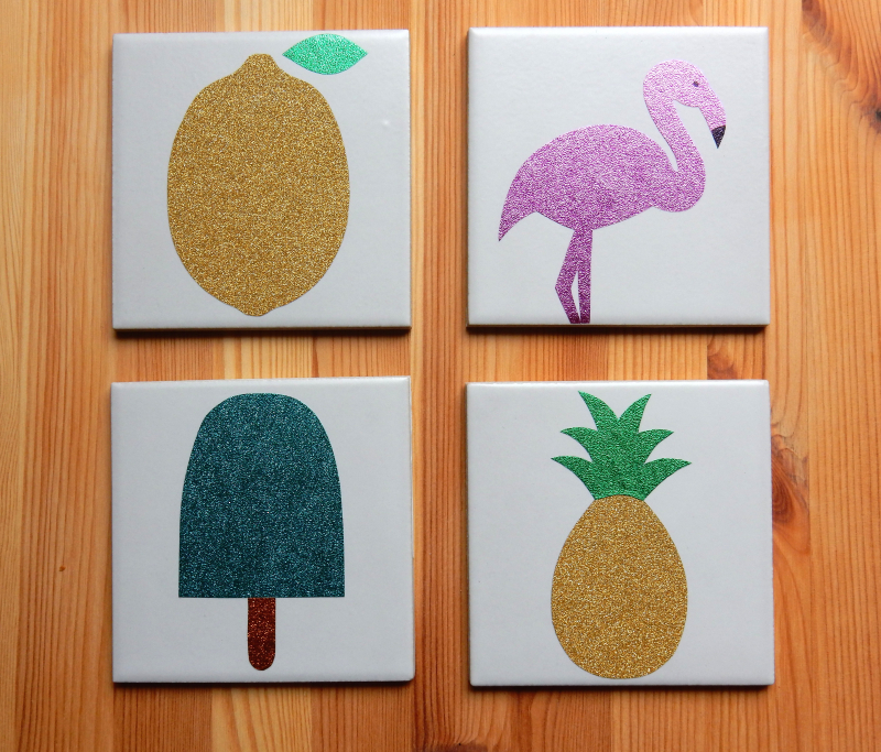 Lu fruity coasters tutorial finished pineapple lemon etc on wood