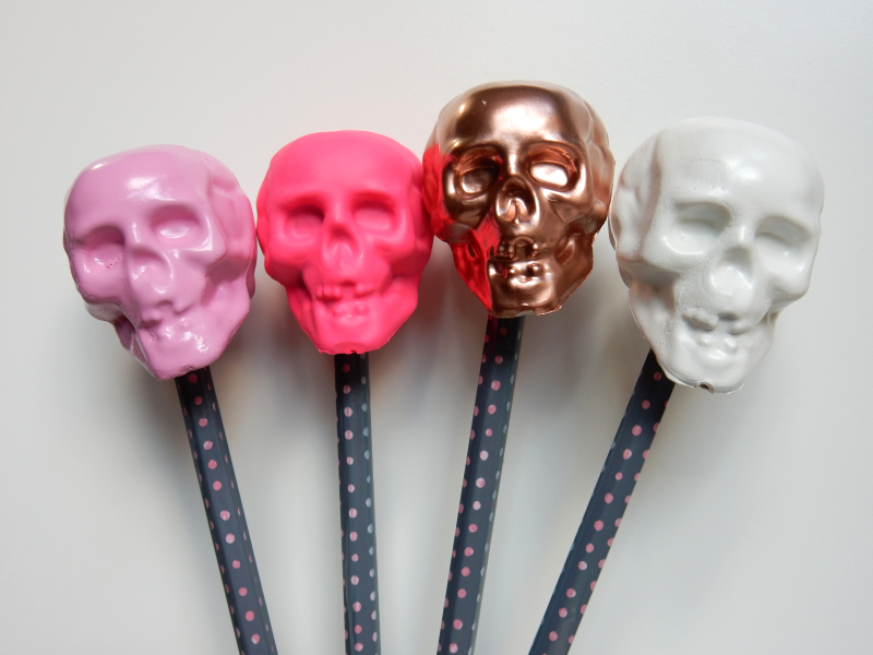 Lu halloween skull tutorial pencil toppers finished