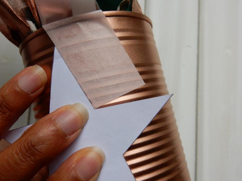 Tin Can Alley sticking masking tape around star 1 DSCN8968