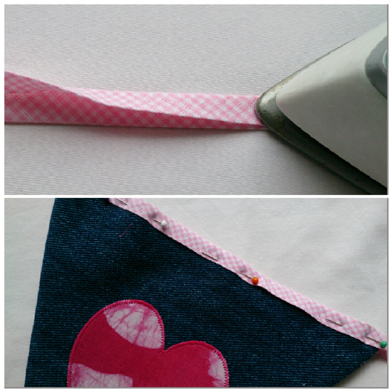 Denim bunting bias binding collage