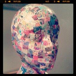Lu decoupage polystyrene head