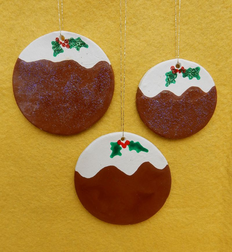 Lu clay christmas decs finished puds