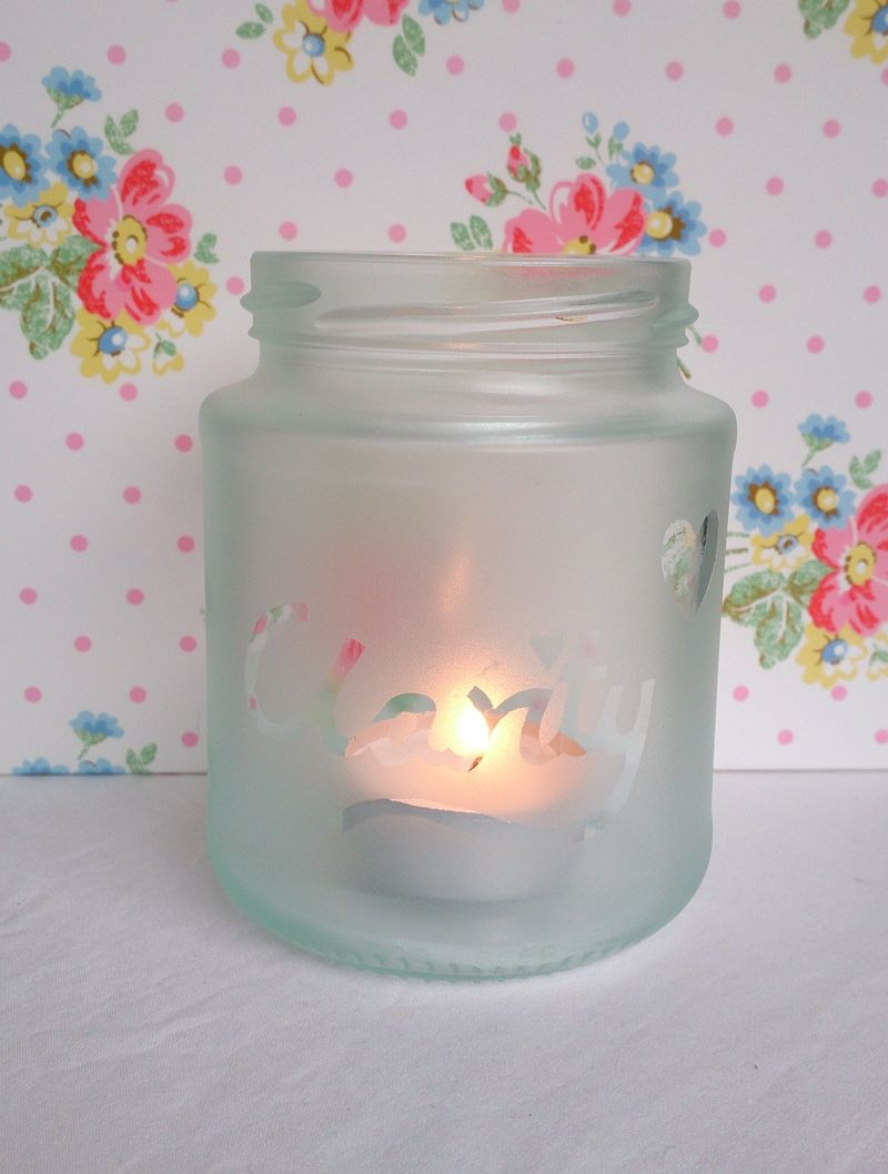 Lu frosted jar CLARITY with candle 1