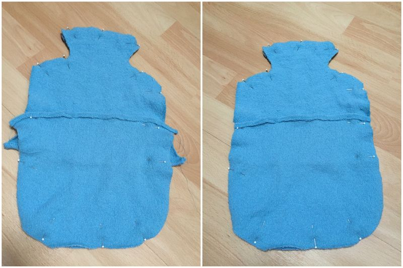 Hot water bottle sewing round