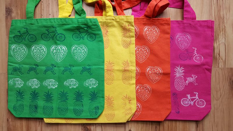 Lu Bruschetta or Bust block printed bags