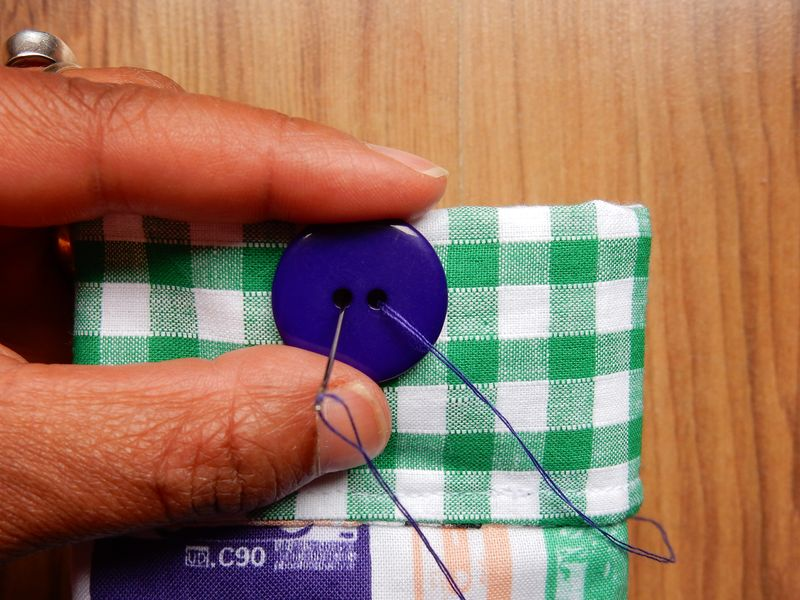 Lu sunglasses case tutorial sewing button on
