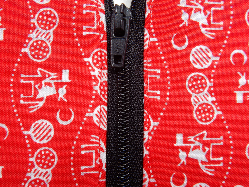 Lu Zippered Pouch Tutorial top stitching close up