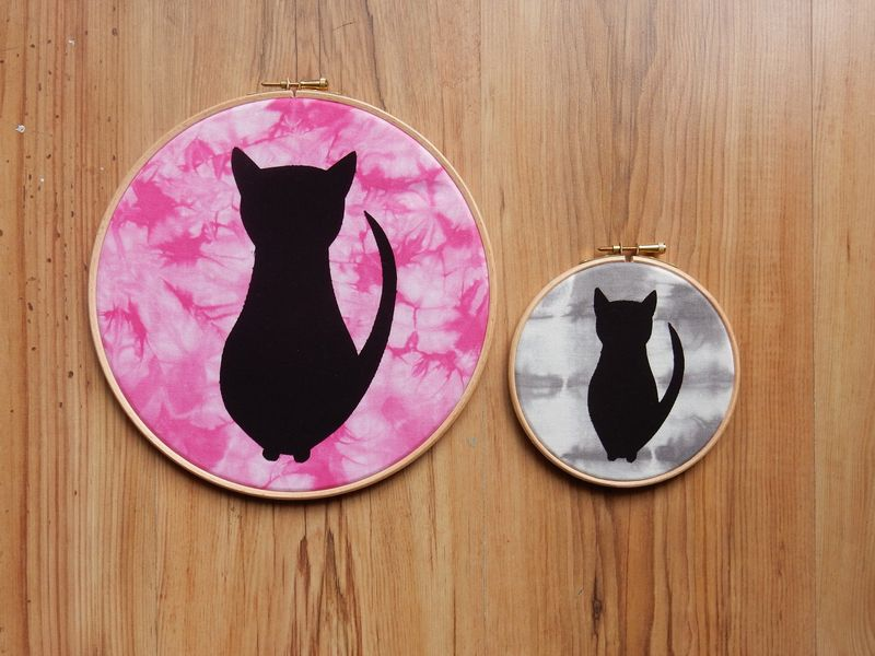 Lu Embroidery Hoop Tutorial finished cat hoops 1