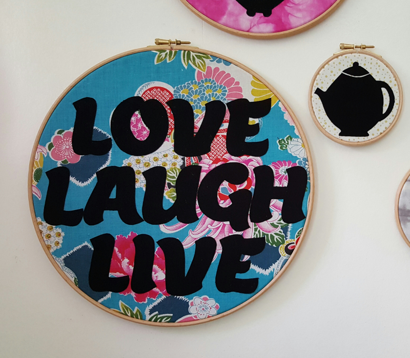 Lu Embroidery Hoop tutorial love laugh live hoop