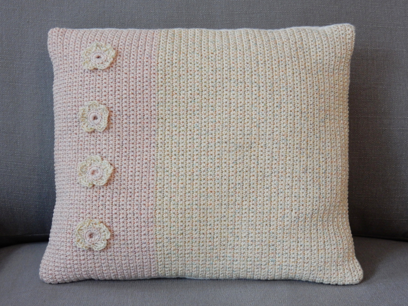 Lu Me and Crochet cushion on sofa 2