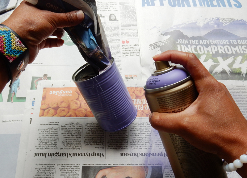 Tin Can Alley spraying tin purple DSCN8921